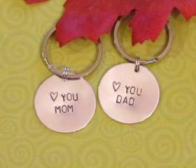 MOM DAD Key Chains Set